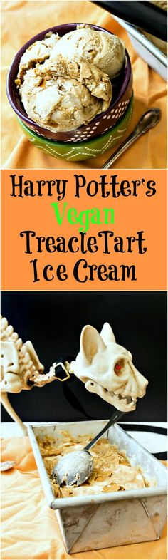 Meet Harry Potter's Vegan Treacle Tart Ice Cream! You know that treacle tarts are Harry's favorite dessert. This is what he'd eat if he wanted ice cream and was having some vegan buddies over to share. Make this Harry Potter-inspired ice cream recipe for