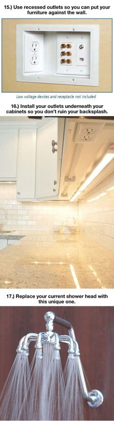 Install outlets under cabinets to have an uninterrupted back splash