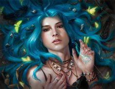 """""""Karou"""" by Lindsey Look. Oil on board, based of Laini Taylor's lovely Daughter of Smoke and Bone Series."""