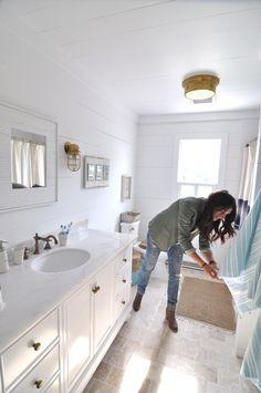 shiplap bathroom shiplap ceiling nautical bathroom white marble vanity…