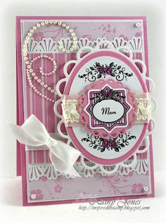 A card for Mum using Vintage Rose Medallions by JustRite Papercraft - by Kathy Jones