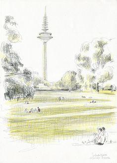 Frankfurt city PRINT of pencil drawing in Grüneburgpark