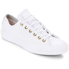 Converse Perforated Leather Unisex Sneakers ($70) ❤ liked on Polyvore featuring shoes, sneakers, white, platform sneakers, white leather trainers, lace up sneakers, white sneakers and converse shoes