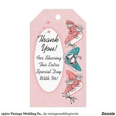1950s Vintage Wedding Favor Tags Pack Of Gift Tags