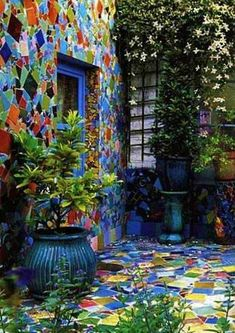 Outdoors Discover mosaic wall and patio by Kaffe Fassett Design Jardin Garden Design Mosaic Glass Mosaic Tiles Stained Glass Mosaic Wall Art Blue Mosaic Tiling Wall Tiles Yard Art, Mosaic Glass, Mosaic Tiles, Stained Glass, Blue Mosaic, Wall Tiles, Mosaic Pots, Pebble Mosaic, Mosaic Wall Art