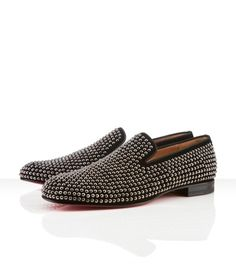 """Inspired by the black color, spikes, and red bottoms. (""""Roller"""" loafer by Christian Louboutin on ChristianLouboutin.com)"""