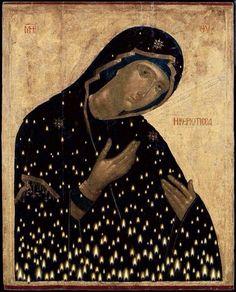 "Virgin Mary ""Keriotissa"" by Christos Bokoros Byzantine Icons, Byzantine Art, Russian Icons, Russian Art, Religious Icons, Religious Art, Orthodox Icons, Angel Art, Blessed Mother"