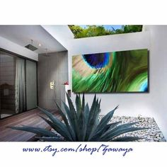 peacock painting blue green beige home decor interior design canvas pint, peacock feather paiting on canvas. $80.00, via Etsy.