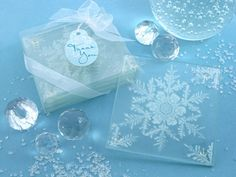 Shimmering Snow Crystal Frosted Snowflake Glass Coasters Set of 4
