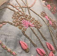 Zardozi Embroidery, Hand Embroidery Dress, Kurti Embroidery Design, Embroidery Fashion, Silk Ribbon Embroidery, Hand Work Design, Diy Embroidery Patterns, Fabric Embellishment, Brocade Fabric