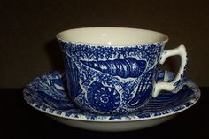 Burgess & Leigh ''Blue Shells'' cup & saucer Cup And Saucer, Shells, Porcelain, Pottery, Tableware, Blue, Collection, Conch Shells, Ceramica