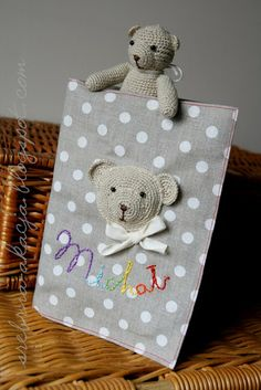 "Little crochet bear and an envelope for kid's ""health book"""