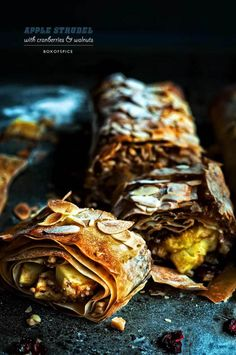 Apple Strudel with Cranberries and Walnuts