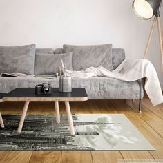 Tapis vinyle New York - Noir et blanc - 120 x 170 cm