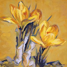 Yellow Spring Crocus. Oil painting by Dusan Balara