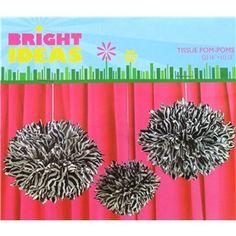 Black & White Zebra Tissue Pom-Poms | Shop Hobby Lobby White Zebra, Black And White, Tissue Pom Poms, Jungle Party, Zebra Print, Hobby Lobby, Girl Room, Babyshower, Birthday Parties