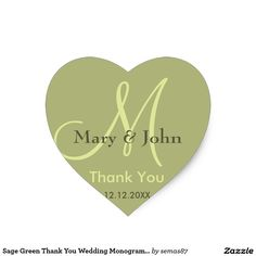 Sage Green Thank You Wedding Monogram Sticker