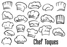 Illustration of Chef or baker hats and toques set in cartoon style vector art, clipart and stock vectors. Cartoon Images, Cartoon Styles, Chef Logo, Bakery Logo, Illustrations, Flat Illustration, Free Graphics, Menu Design, Logo Design Inspiration