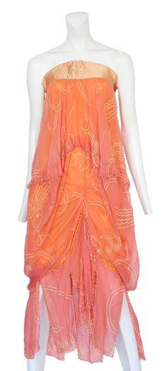 zandra rhodes pink strapless gown