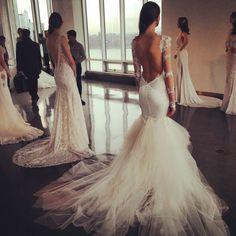 Galia Lahav's wedding dresses with very sexy backs! #bridalmarket #bridalfashionweek #galialahav