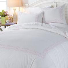 anna griffin embroidered 100 cotton 3piece duvet cover set