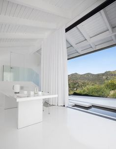 dream office white on white clean and serene interior design outside indoors