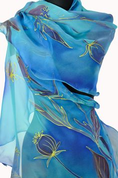 Blue hand painted silk chiffon scarf! Hand painted flowers/Blue long luxury scarf/Woman gift/Floral silk scarf/Blue scarf/Painting on hand by GABYGA on Etsy