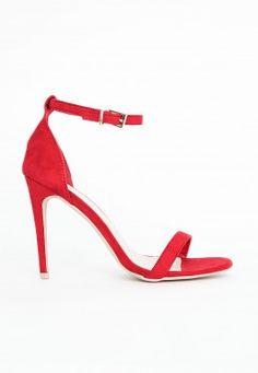 Sandales à lanières en suédine Clara en rouge