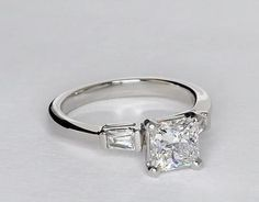 Tapered Baguette Diamond Engagement Ring in Platinum (1/6 ct. tw.) | Blue Nilethis is perfect...