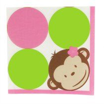 Pink Mod Monkey 1st Birthday Party Packs, 67568
