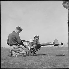 Oakland, California. High School youth with their model airplane. ca. 1940