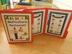 This is a set of four menus (breakfast, lunch, dinner, dessert) that can be attached to file folders to make word walls to help your students with their writing as well as social interaction and creative play. I typically use these in reading, writing, math, or dramatic play center. As a bonus, this set now includes a multicultural meal menu featuring foods from around the world!