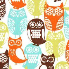 white Michael Miller owl fabric Swedish Owls 1