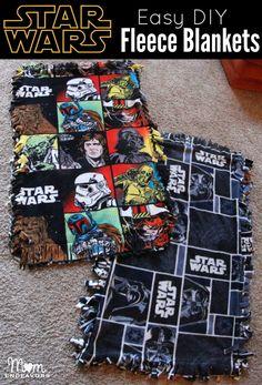 Easy DIY Star Wars Fleece Blankets via {Mom Endeavors} . Star Wars Love, Theme Star Wars, Star Wars Baby, Diy Throw Blankets, Baby Boy Blankets, Fleece Blankets, Happy Star Wars Day, Star Wars Crafts, Star Wars Christmas