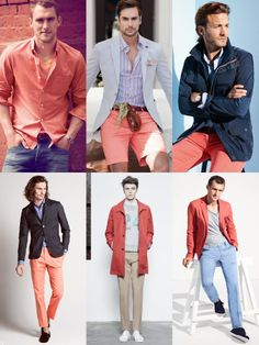 Men's 2014 Spring/Summer Shades Of Red Colour Trend: Coral Lookbook Inspiration