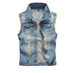 Mens Denim Vest Vintage Sleeveless Ripped $30