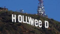 'Hollyweed' statt 'Hollywood': der manipulierte Schriftzug über Los Angeles. (Quelle: AP/dpa)