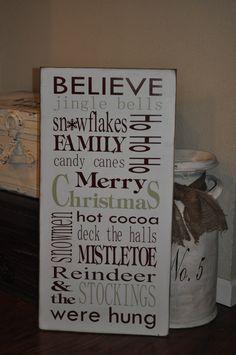 Christmas Subway Art Wood Sign/Christmas Typography Sign
