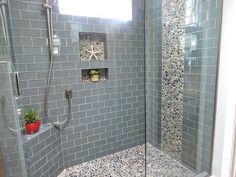 glass-subway-tile-bathroom-Bathroom-Modern-with-glass-tile-shower . glass-subway-tile-bathroom-Bathroom-Modern-with-glass-tile-shower … Pebble Tile Shower Floor, Glass Tile Shower, Subway Tile Showers, Subway Tiles, Tiled Showers, Pebble Tiles, Glass Tiles, Wall Tiles, Pebble Stone