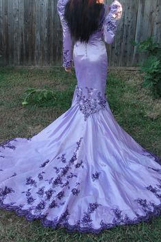 Hand dyed 1980s gothic mermaid style wedding gown halloween costume