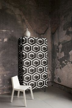 Geometric wallpaper (for cabinet?)
