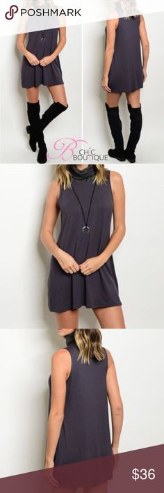 """❗Clearance❗Turtleneck Jersey Knit Dress Sleeveless turtle neck jersey Tunic dress. Can be worn as a Tunic too! Make of polyester/ spandex blend. Measurements for small: bust 36""""/ waist: 34""""/ length 30"""" Bchic Dresses"""