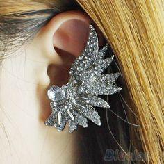 5Pcs Women's Punk Metallic Wing Fan Shape Ear Cuff Ear Wrap Clip Crystal Earrings