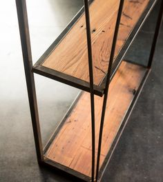 Reclaimed chestnut and steel Book Shelf by DeLuca Creations