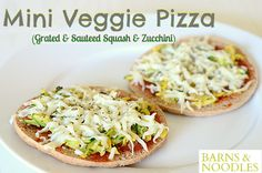Our Mini Veggie Pizza Recipe is constantly evolving!   Shredded and Sauteed Zucchini and Squash is our new favorite...