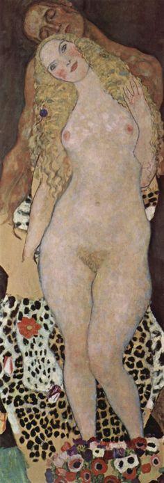 Adam and Eve (1917-1918), oil on canvas painting by the Austrian Symbolist painter Gustav Klimt (18621918), 173 cm x 60 cm in the Österreichische Galerie Belvedere, a museum housed in the Belvedere Palace in Vienna, Austria