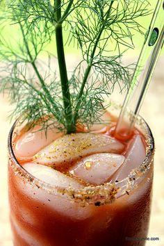 {Tipsy Christmas Cheer} Spicy fennel sea salt bloody mary via @Hungry Goddess