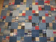 Blue jean quilt made from jeans and shirts of a customer's father-in-law's that had passed.  She wanted 2 lap quilts for her brother-in-law's and a queen size for her husband.