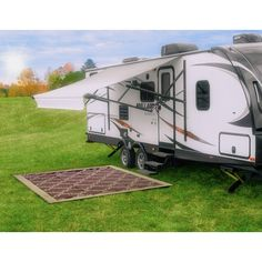 Camco 9' x 12' Reversible RV Outdoor Mat #ad Kitchen Island Cart, Kitchen Mat, Portable Picnic Table, Lattice Design, Mold And Mildew, Rv Living, Cottage Homes, Recreational Vehicles, Outdoor