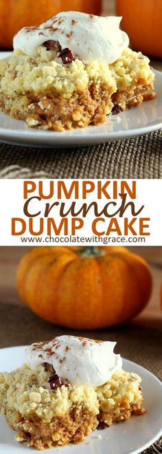 Pumpkin Crunch Dump Cake recipe is simple to make and makes and easy thanksgiving dessert idea.This Pumpkin Crunch Dump Cake recipe is simple to make and makes and easy thanksgiving dessert idea. Weight Watcher Desserts, Köstliche Desserts, Delicious Desserts, Yummy Food, Healthy Desserts, Fall Recipes, Holiday Recipes, Halloween Dessert Recipes, Fruit Recipes